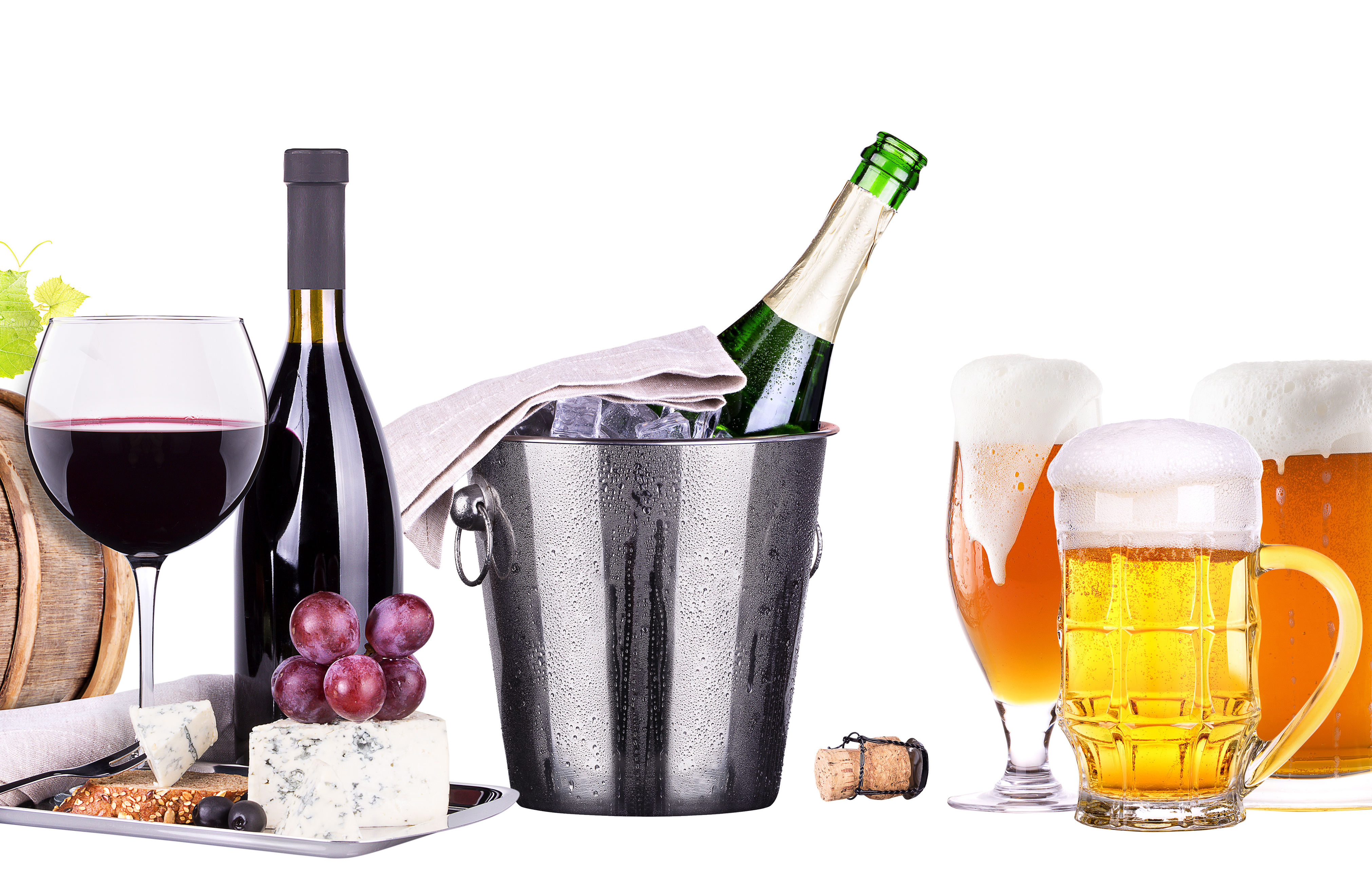 champagne, red and white  wine,beer,ice bucket,food,grapes isolated over white background